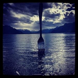 Lake art. Vevey, Switzerland
