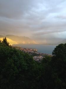 Evening storm with sunlight reflection. Lac Lemàn