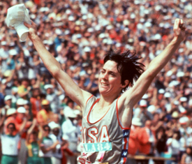 Joan Benoit winning the first women's Olympic marathon in 1984. A giant step for women athletes even if without a sports bra.