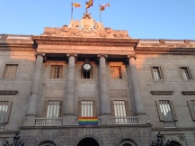 Government building flying a flag of many colors!